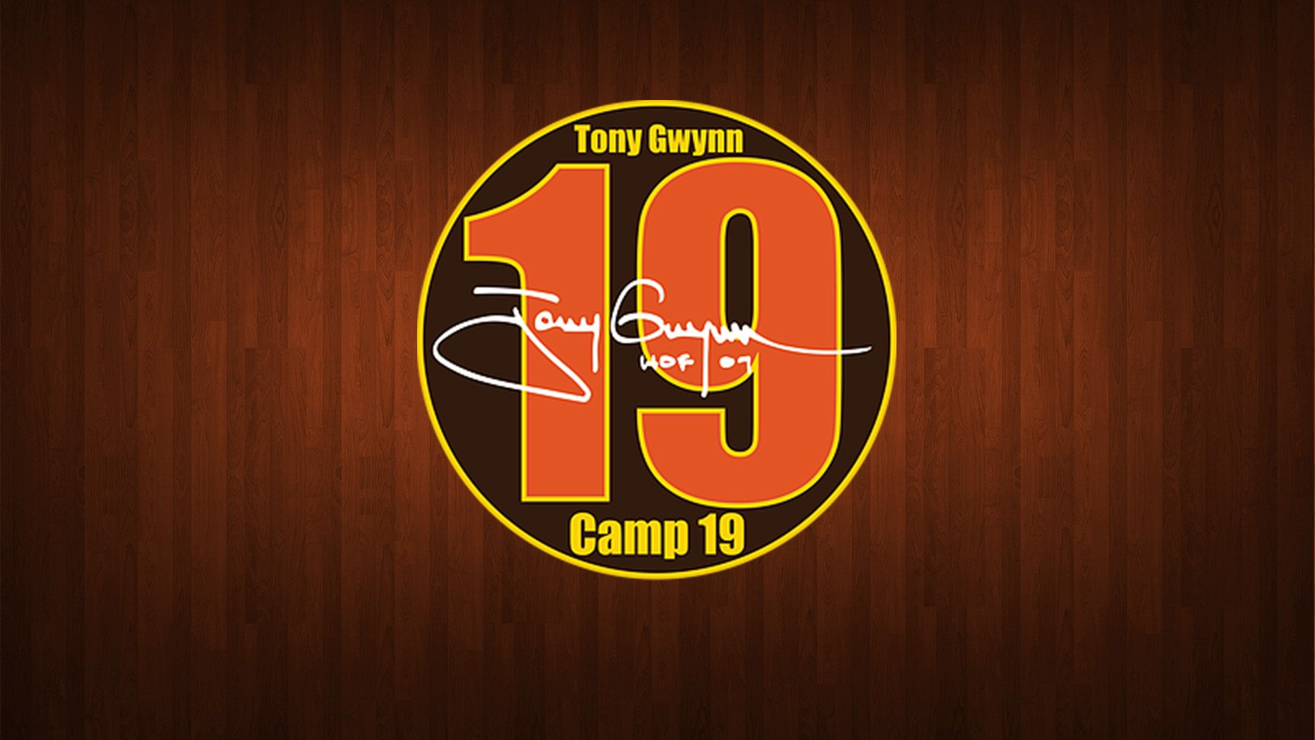 Camp19 Logo on wood background